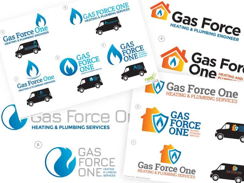 Using the client's feedback we created several ideas that communicated everything about Gas Force One in a modern and easily identifiable brand.